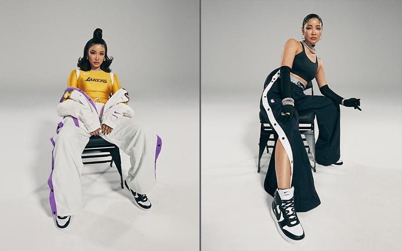 Одежда в цветах Los Angeles Lakers и Brooklyn Nets
