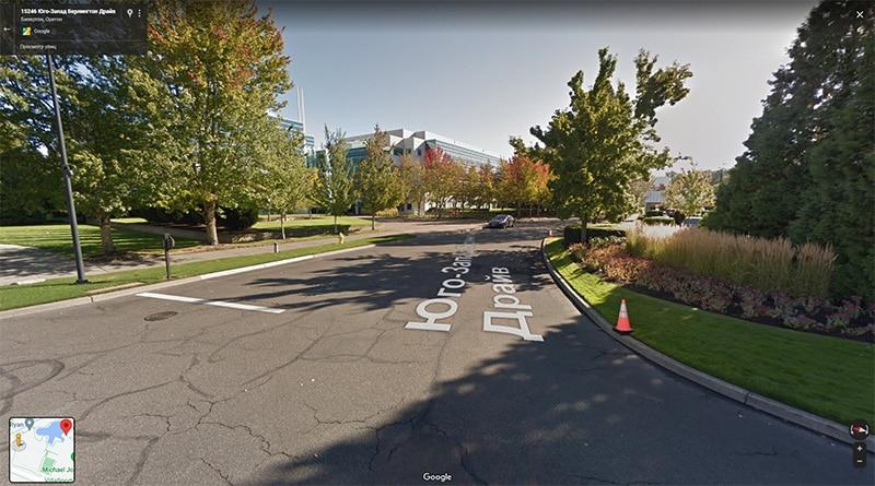 Территория кампуса Nike на панорамах Google
