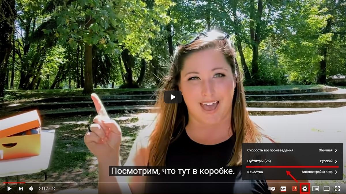 Как включить в ролике русские субтитры